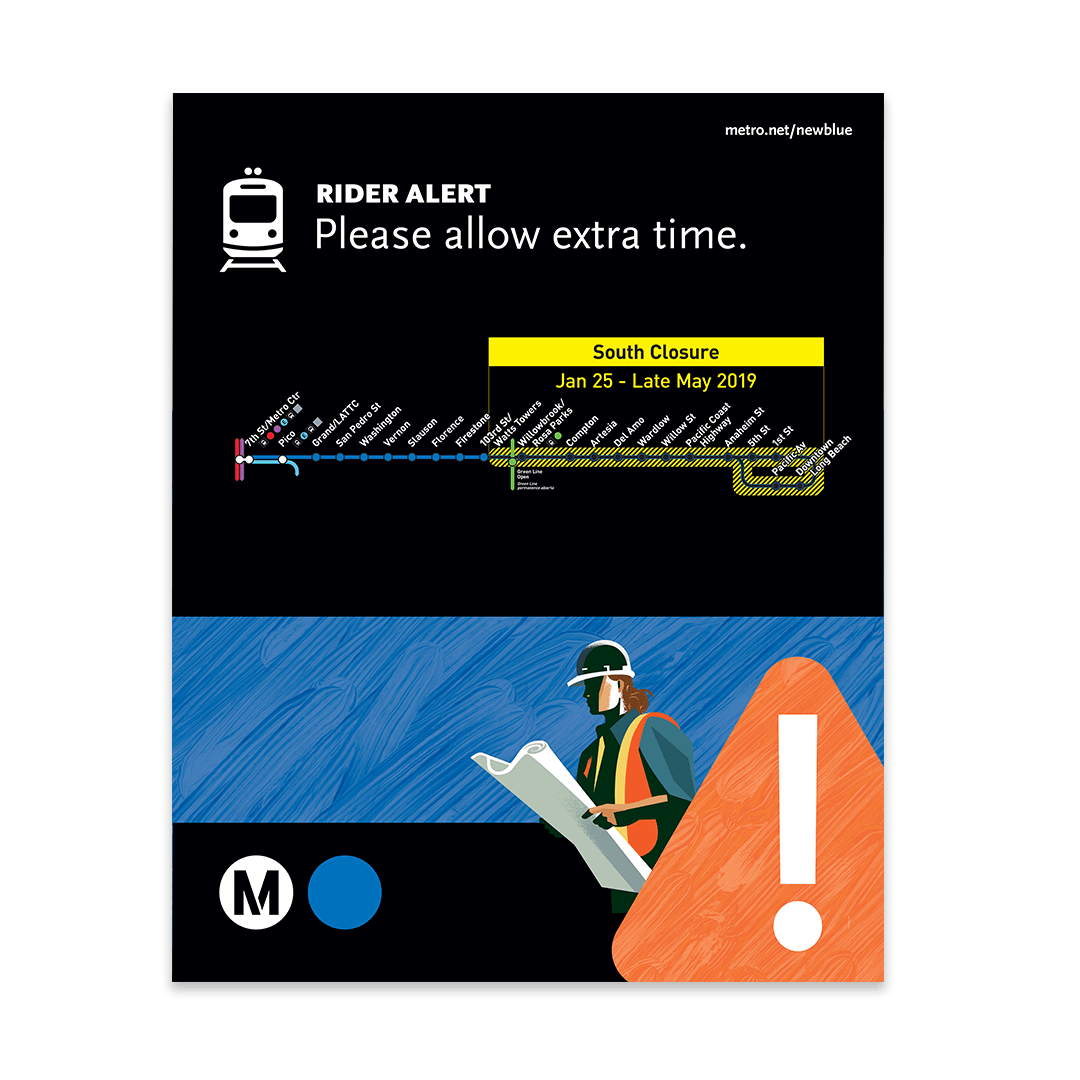 Blue Line Sign with Map